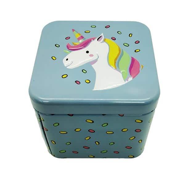 Cubic Metal Box Unicorn Blue