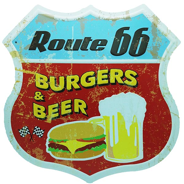 Route 66 Highway sign Embossed Metal Wall Poster