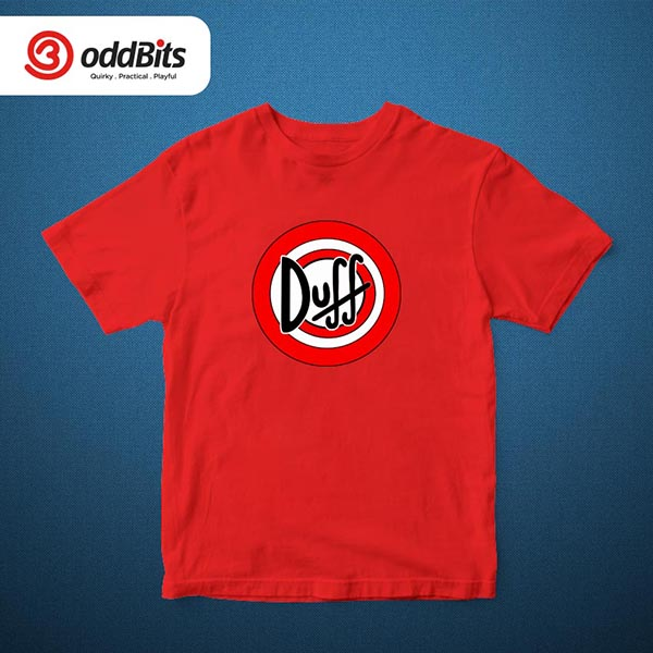 The Simpsons Duff Graphic Tshirt red