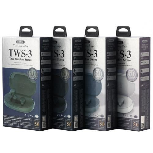 REMAX TWS-3 Wireless Earbuds With Charging Box For Phone