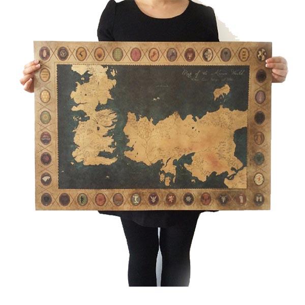 Game Of thrones World Map Kraft Poster