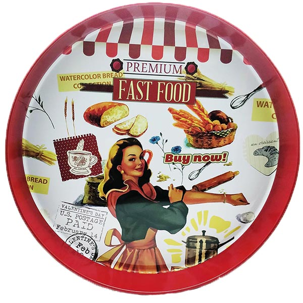 Retro Fast Food Round Metal Serving Tray