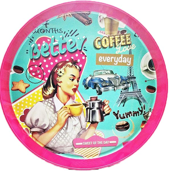 Retro Better Coffee Round Metal Serving Tray