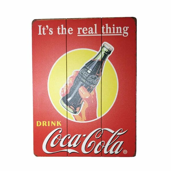 Coca-Cola Real Thing Wooden Poster