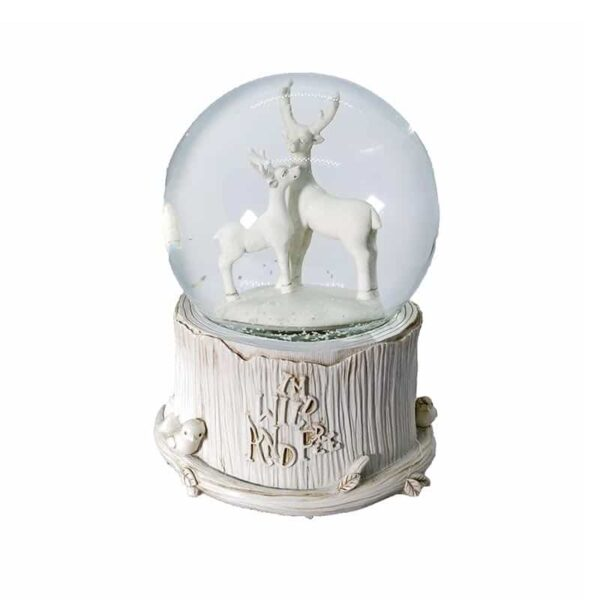 White Deer Snow Globe With Music