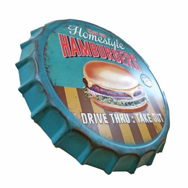 Home Style Hamburgers2 Metal Decorative Wall Hanging Bottle Cap