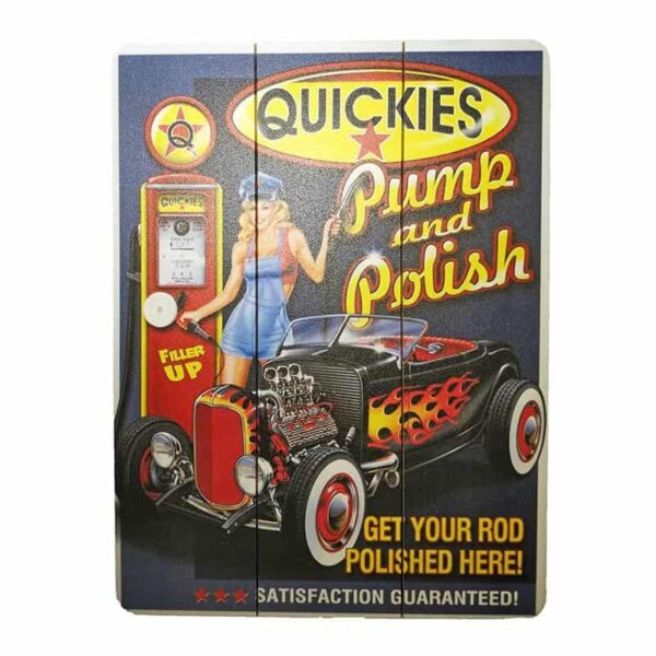 Quickies Gas Wooden Poster