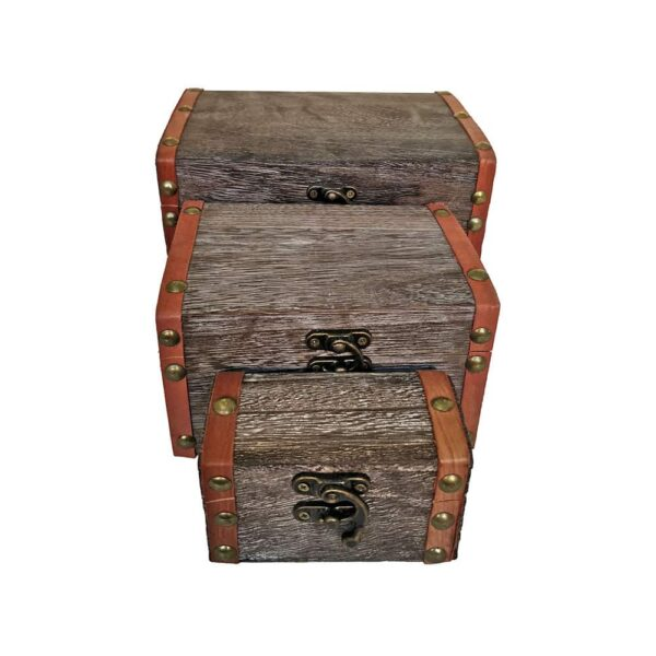 3 Storage Natural Wood Boxes Set With Lock
