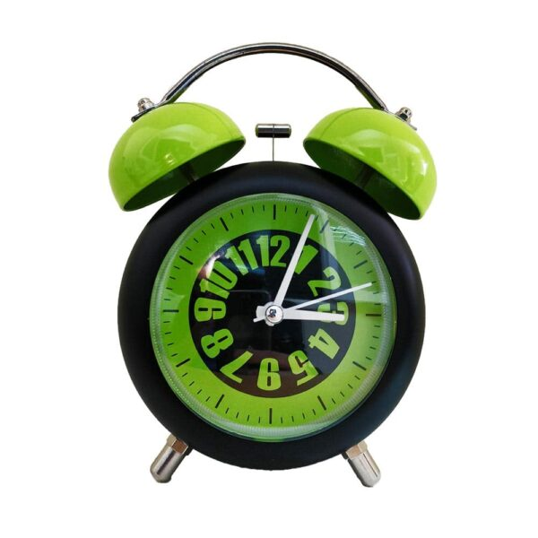 Bell Metal Colored Desk Alarm Clock with Night Led Light