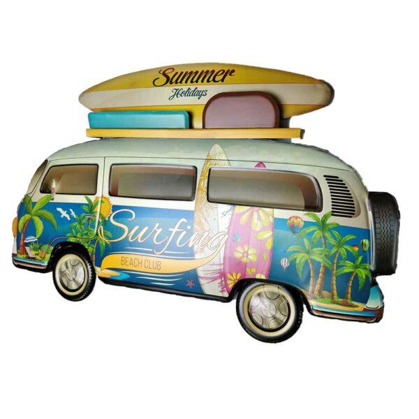 Camper Surfing Van Contemporary Metal Wall Art Decor Sculpture Campervan Home Gift