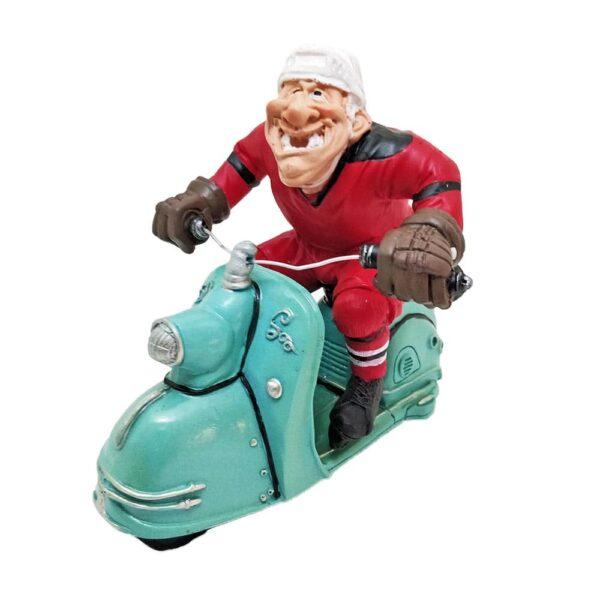 Cartoonish Hockey Player On Vespa Figure
