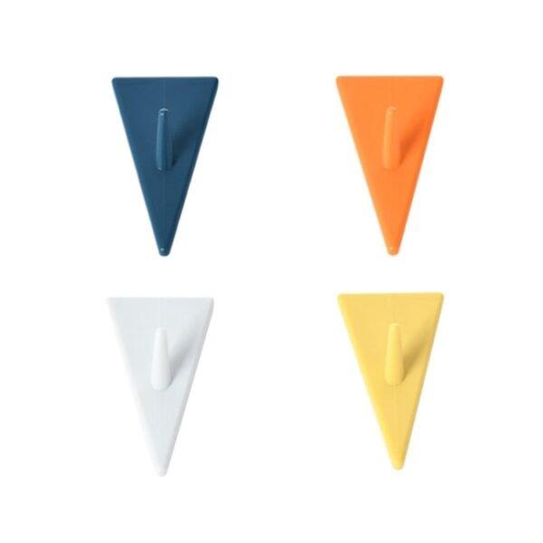 Mixed-color Invisible Triangle Hook Behind Kitchen Bathroom Door Nail-free Coat Hook 8 PCS