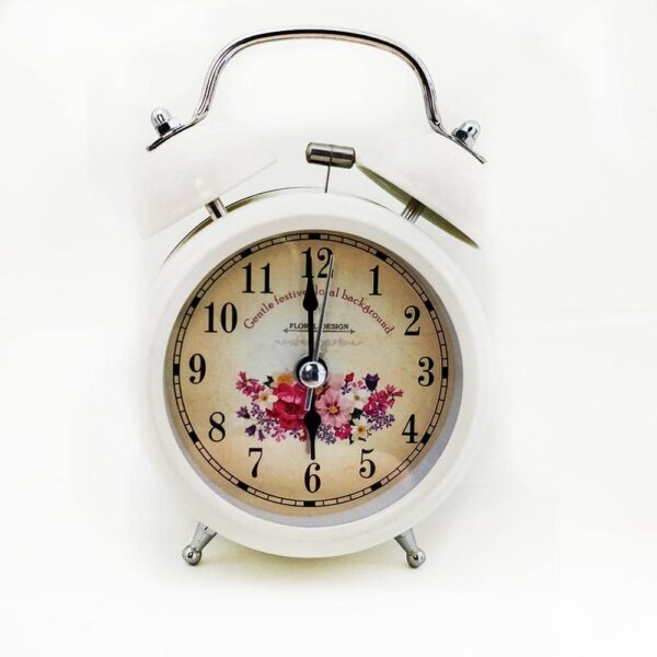 Mini Bell Metal Desk Alarm Clock with Night Led Light - Floral