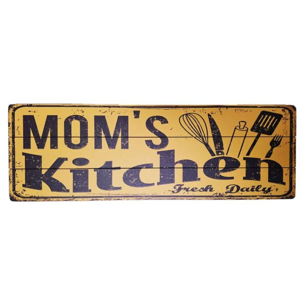 Mom's Kitchen Wooden Poster