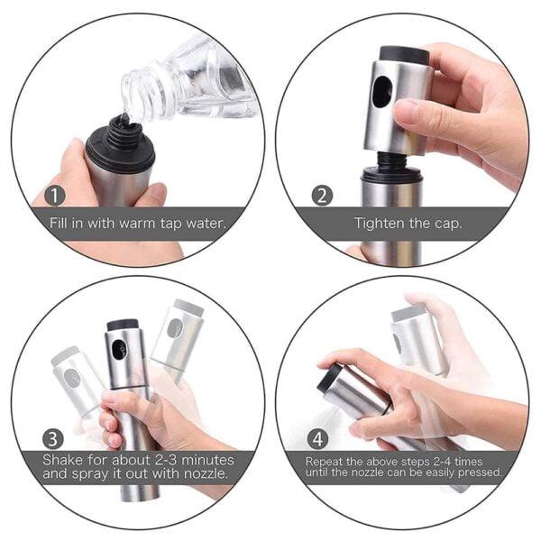 Stainless Steel Oil Sprayer Dispenser Spray Bottle for Kitchen Vinegar Spraying Cooking Salad Barbecue Grills