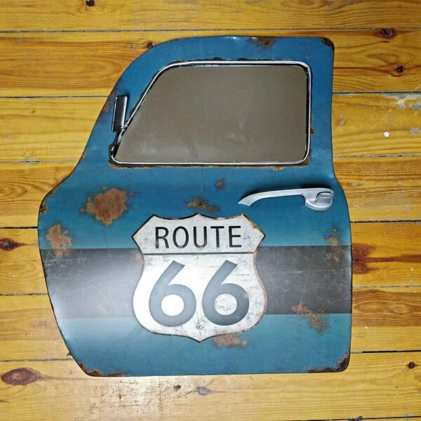 Route 66 Metal Car Door With Mirror Wall Hanging Decal