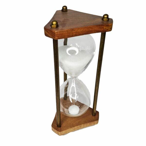 Wooden and Brass Triangular Sand Timer Hourglass
