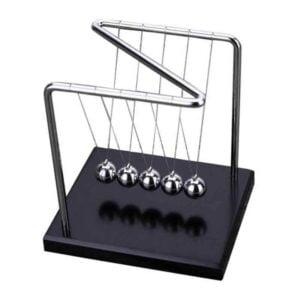 Z Shape Newton Cradle Metal Pendulum Balls with Wooden Base Physics Desk Toy
