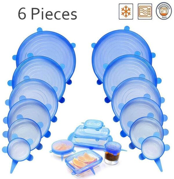 6Pcs Kitchen Silicone Stretch Bowl Cover Food Fresh Keeping Vacuum Sealed Lid - Blue