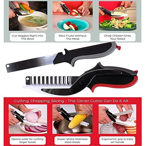 Smart Cutter 3 in 1 Clever Knife and Cutting Board Premium Quality Stainless Steel Blades