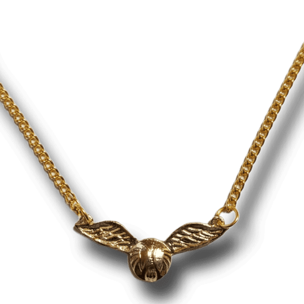 Beautiful Golden Snitch Pendant with golden necklace