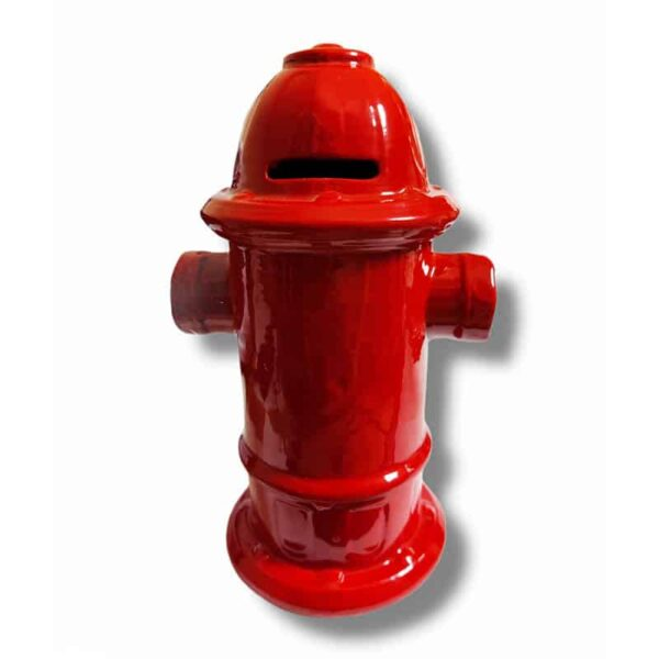 Ceramic Fire Hydrant coin bank - Red