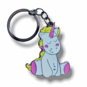 Cute Unicorn C Metal Keychain