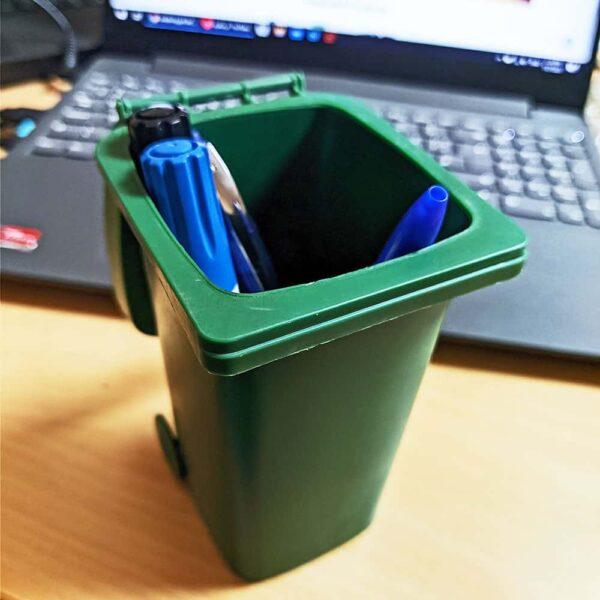 Mini Curbside Trash Bin with Lid, Desk Organizer Garbage Bin, Pen Holder Office Desktop Supplies