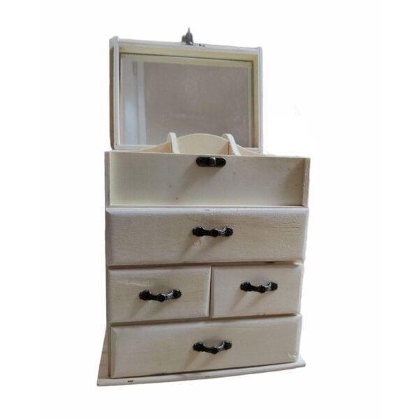 صندوق مجوهرات بأدراج خشبية  صغيرة مع مرآة