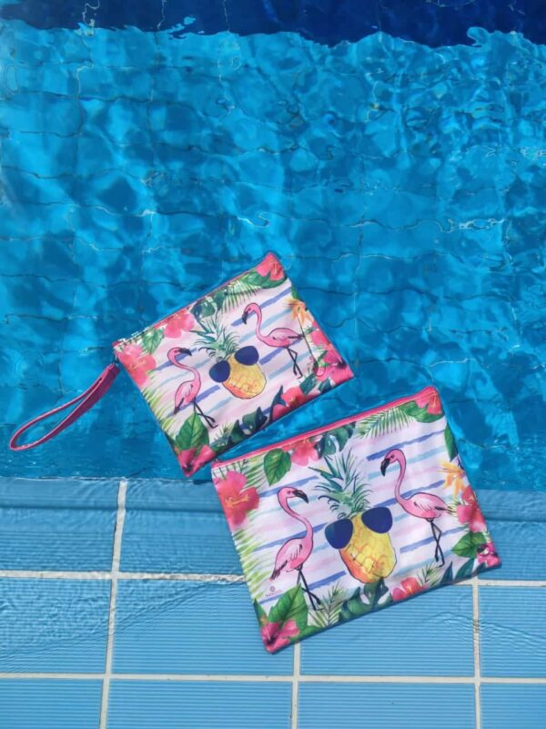 Flamingo Pouch Zipper Bag With Pockets By Shakasta