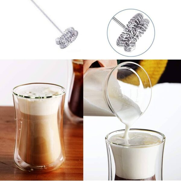 Milk frother electric foamer coffee foam maker milk shake mixer battery operated latte cappuccino pitcher