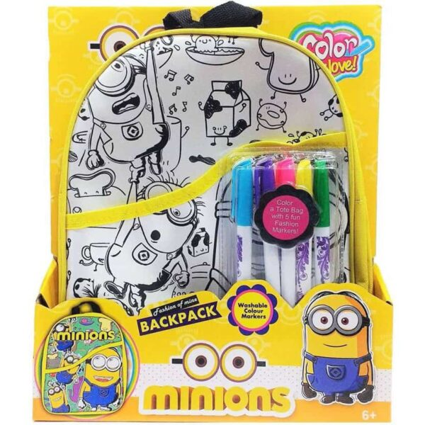 Minions Color My Love Backpack - Color Your Own Backpack Washable Color Markers