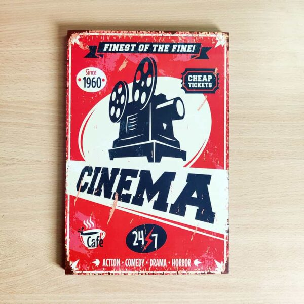 Cinema Wooden Wall Poster